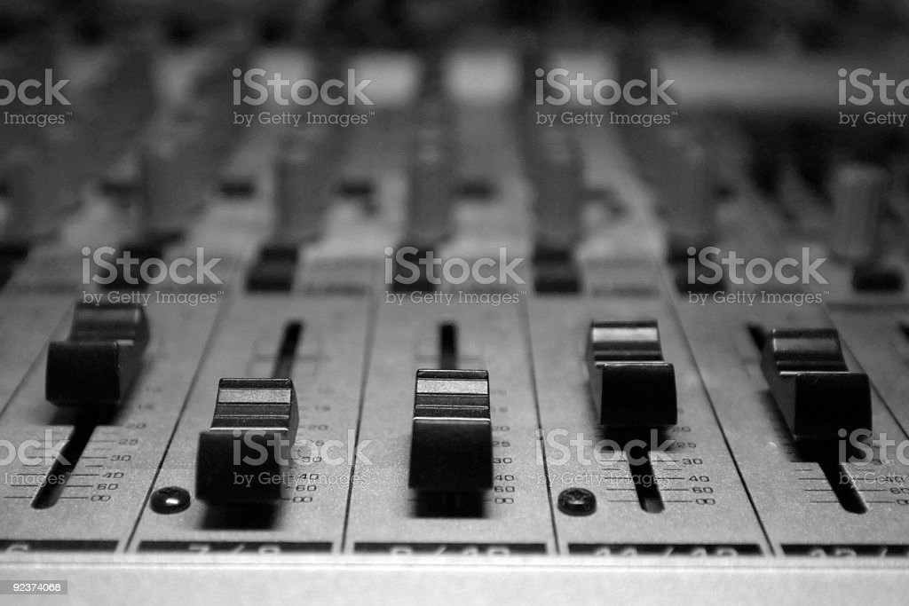 Close-up of a studio music board stock photo