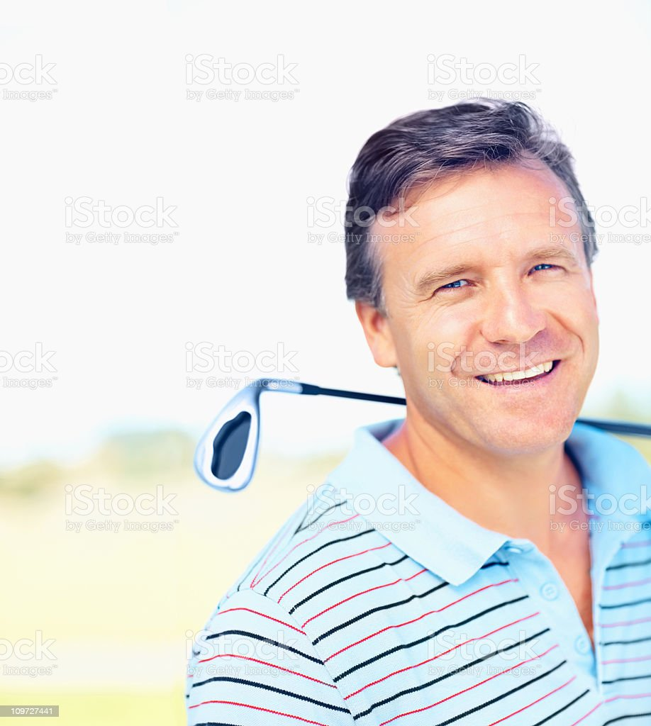 Closeup of a successful golfer royalty-free stock photo