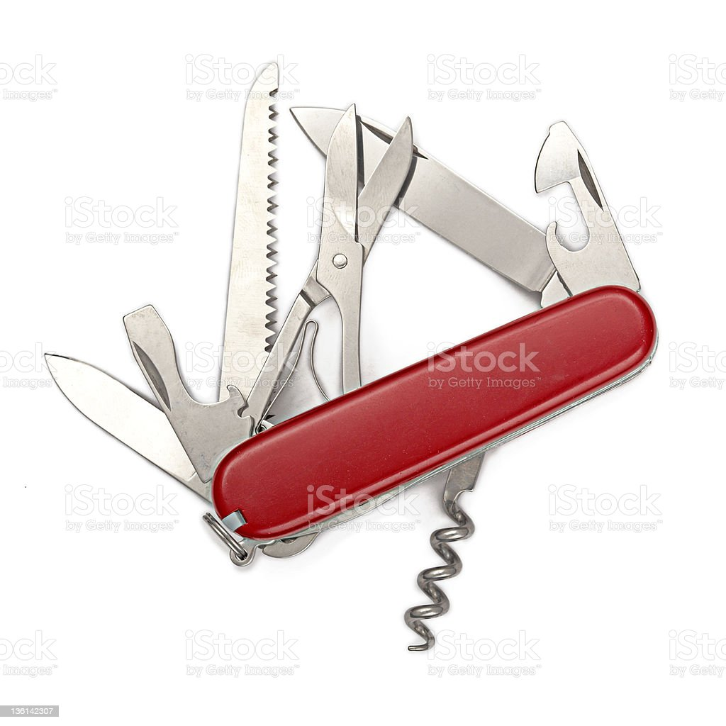 A close-up of a Swiss Army knife stock photo