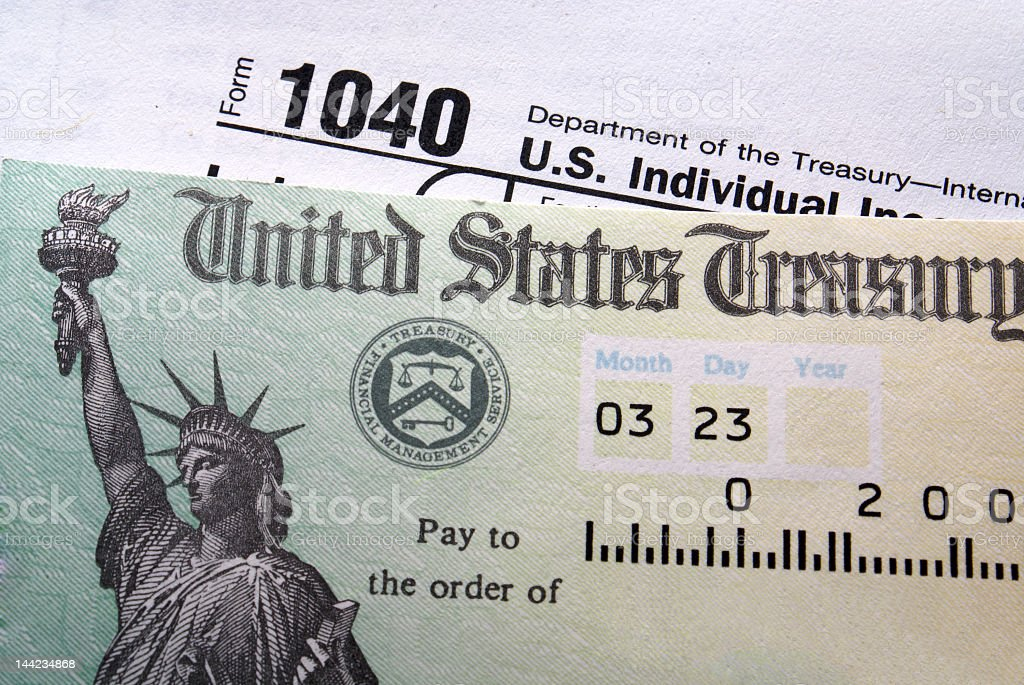Close-up of a tax check from the United States Treasury stock photo