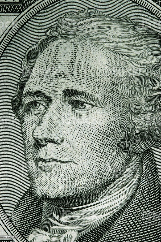 Close-up of a ten dollar bill royalty-free stock photo