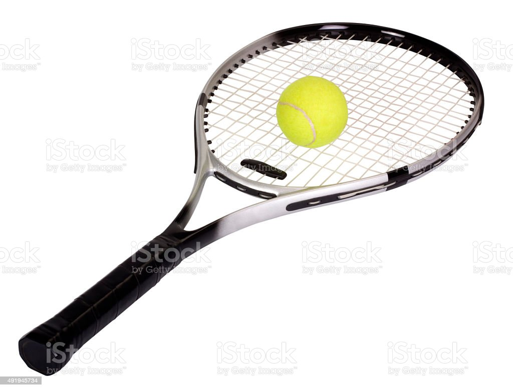 Close-up of a tennis racket with a tennis ball stock photo