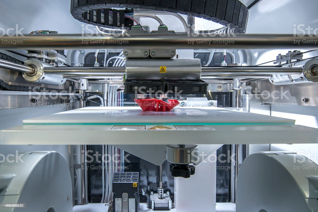 Close-up of a three dimensional printing machine stock photo