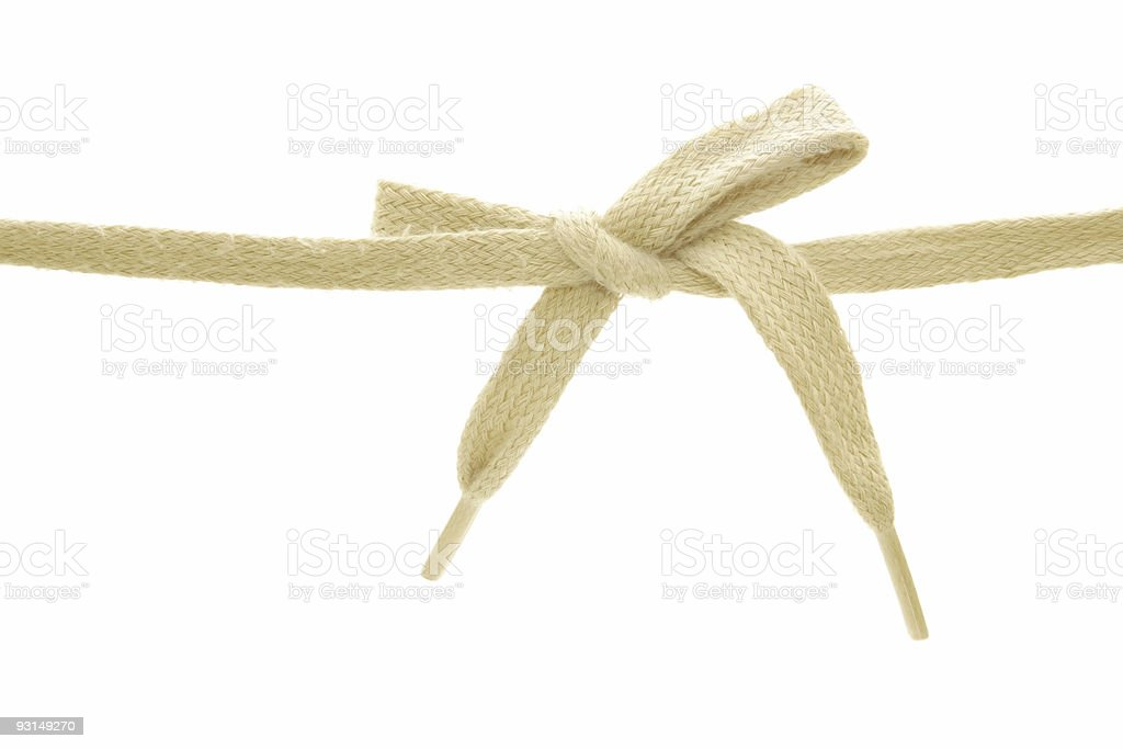 Close-up of a tied white shoelace stock photo