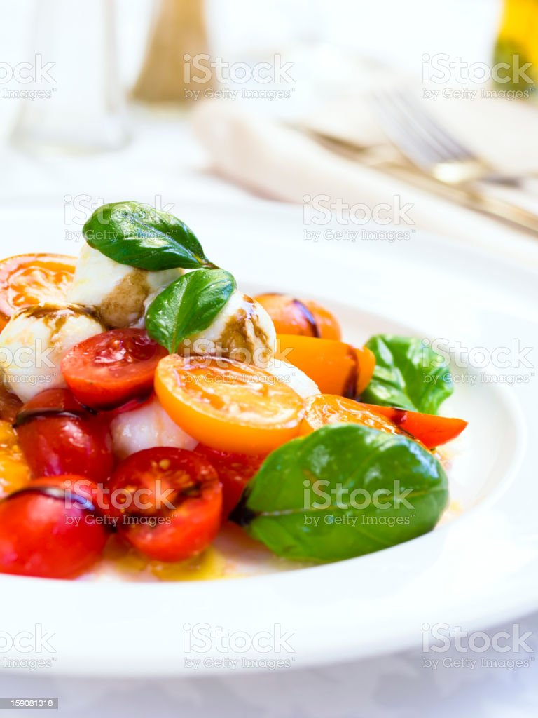 Close-up of a Tomato and Mozzarella Salad royalty-free stock photo