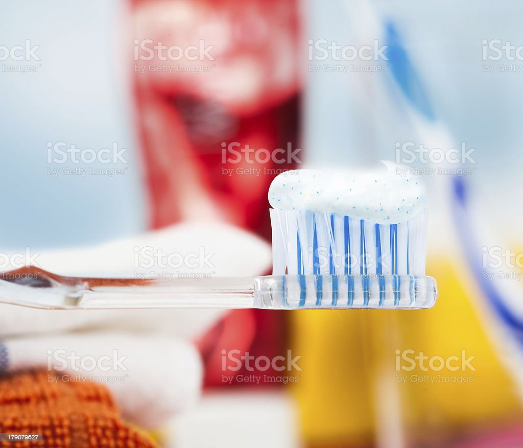 Closeup of a toothbrush with dental paste royalty-free stock photo