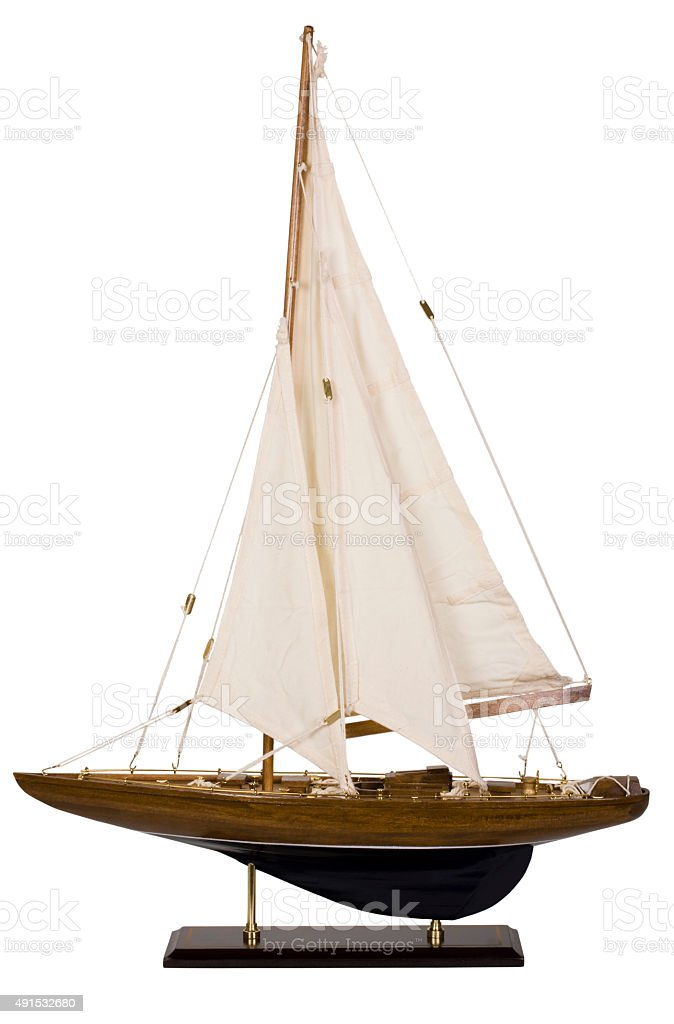 Close-up of a toy sailboat stock photo