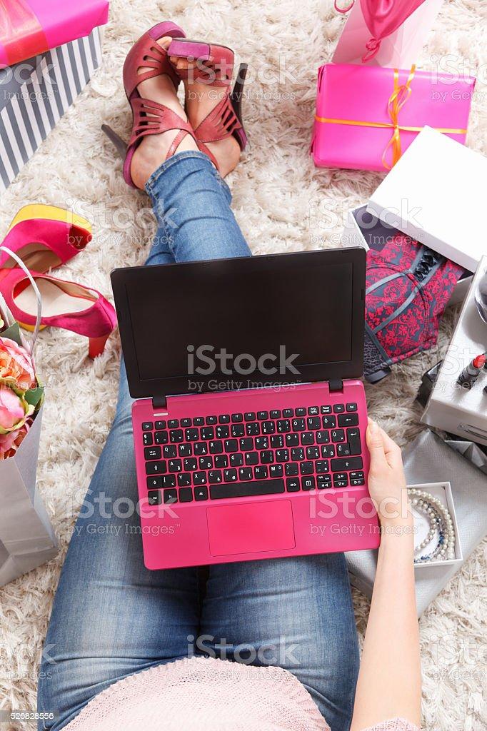 Closeup of a trendy laptop stock photo