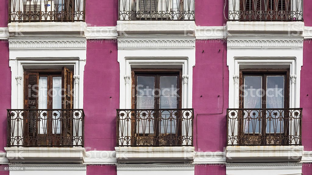 closeup of a typical spanish old building stock photo