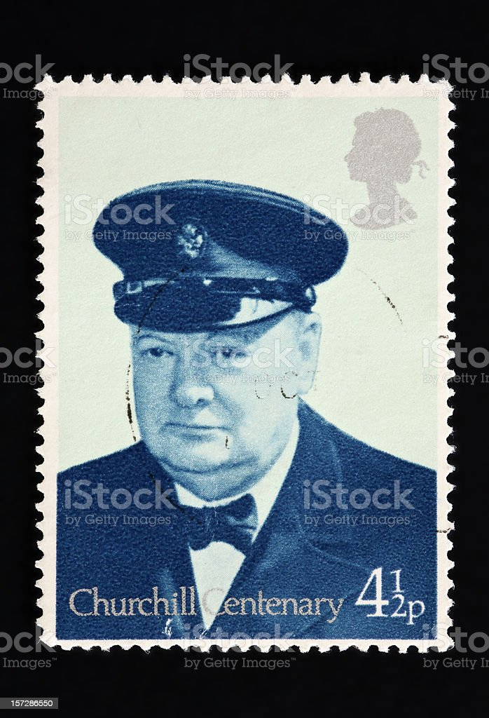 Close-up of a UK stamp showing Winston Churchill portrait royalty-free stock photo