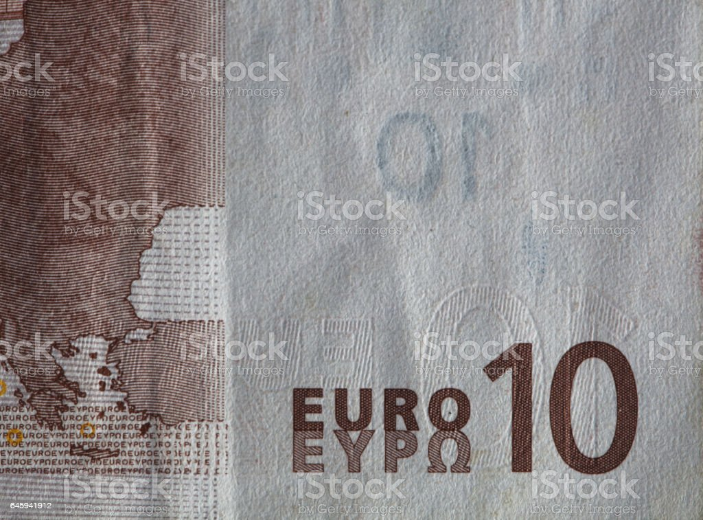 Closeup of a used 10 Euro paper money bill stock photo