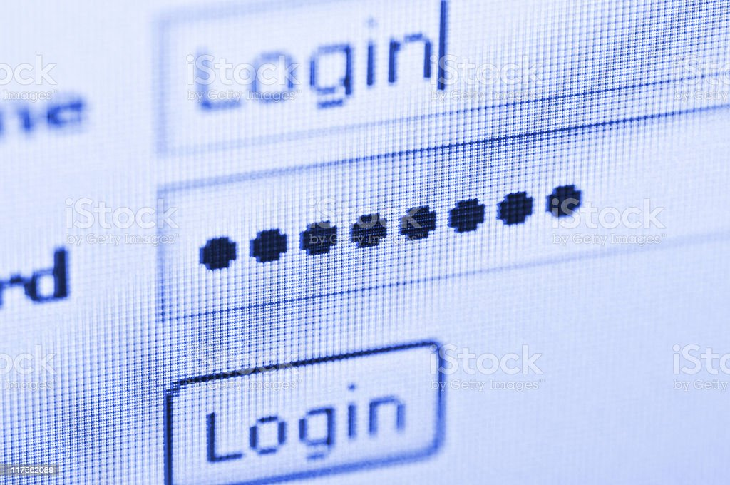 Close-up of a username and password login screen royalty-free stock photo