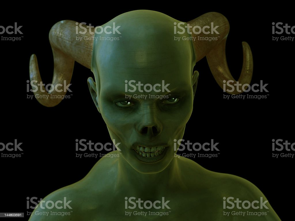 Close-up of a vampire zombie in mid attack. royalty-free stock photo