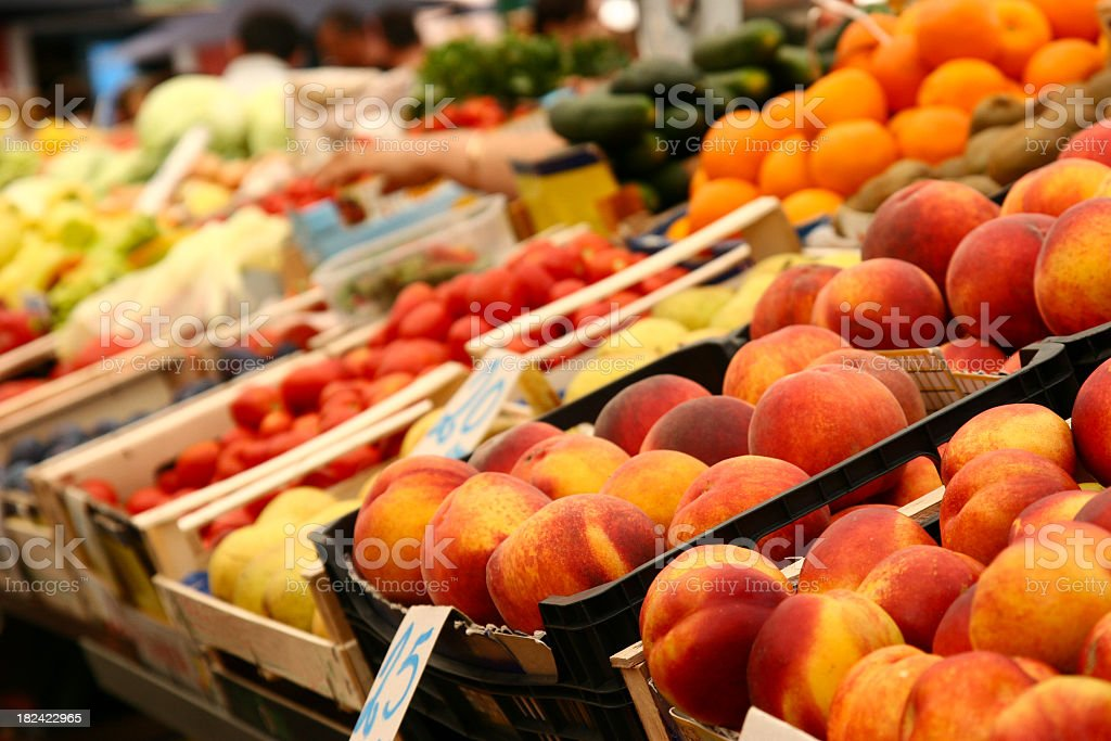 Close-up of a variety of fruits and vegetables on market day royalty-free stock photo