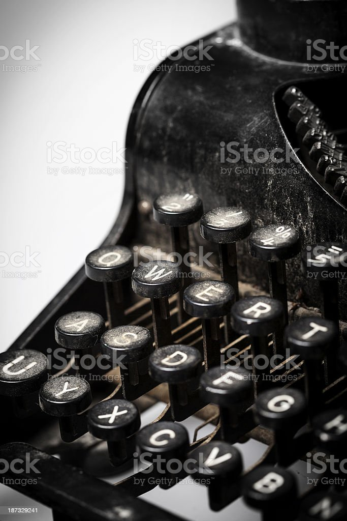 Closeup of a vintage manual typewriter, dirty and rusty royalty-free stock photo