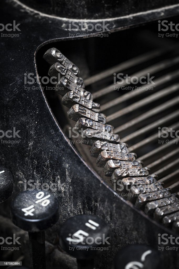 Closeup of a vintage manual typewriter, dirty and rusty stock photo