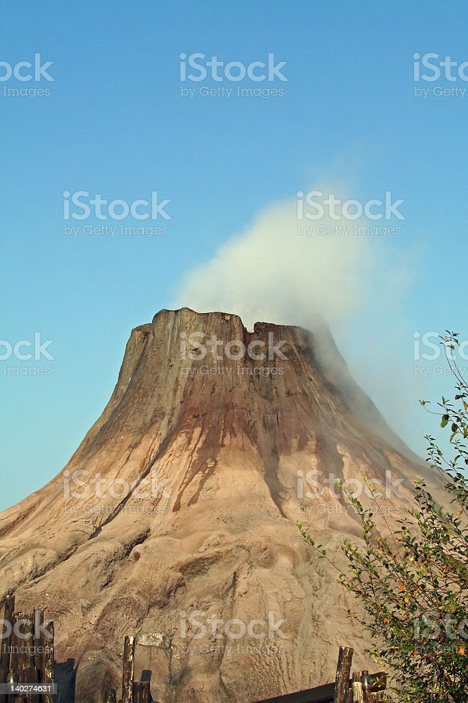 Close-up of a volcano with white smoke coming out stock photo