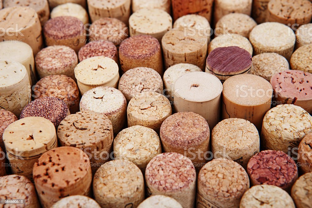Closeup of a wall of used wine corks. stock photo