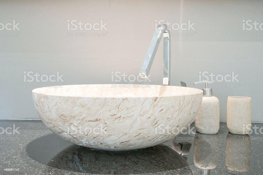 Closeup of a wash basin in modern bathroom stock photo