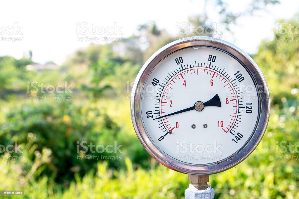 Closeup of a water pressure meter,Water gauge stock photo