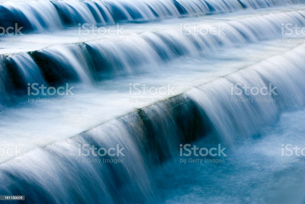 A close-up of a waterfall with white water stock photo