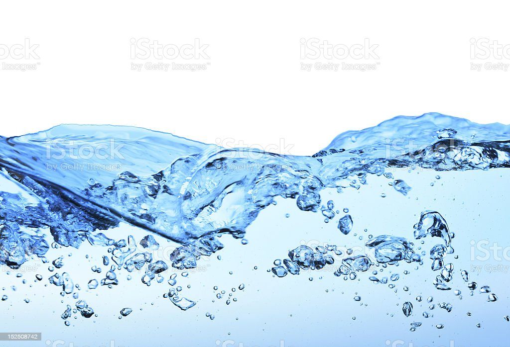 A close-up of a wave in clear water stock photo