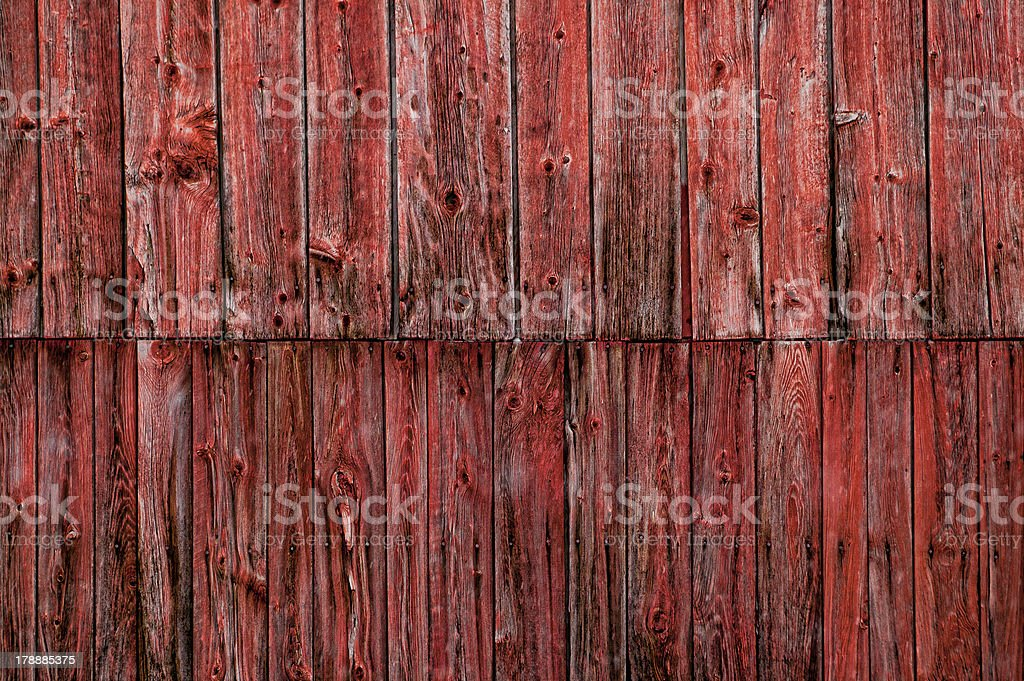 Closeup of a weathered red barn. royalty-free stock photo