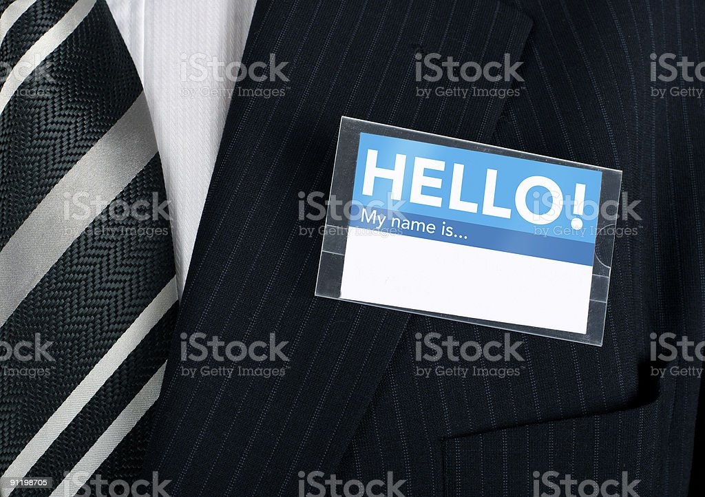 Close-up of a welcoming name tag stock photo