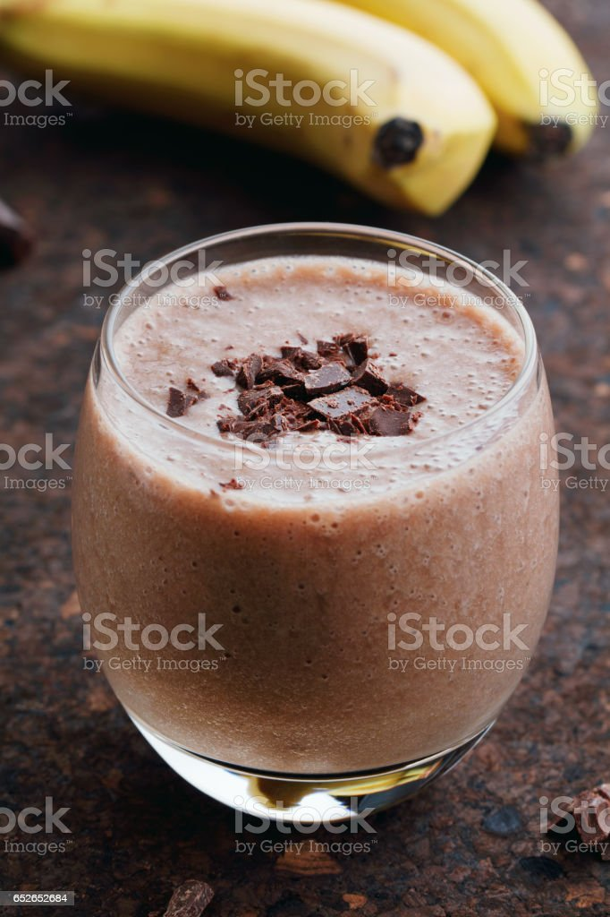 Close-up of a whipped banana milkshake with chocolate stock photo