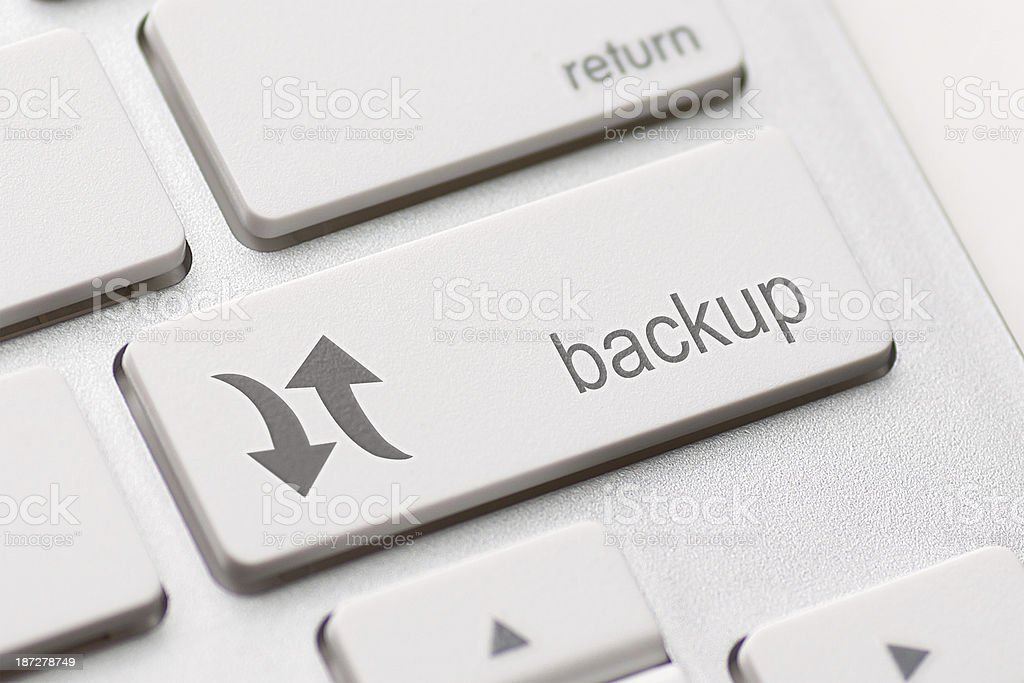 Close-up of a white back up computer key stock photo