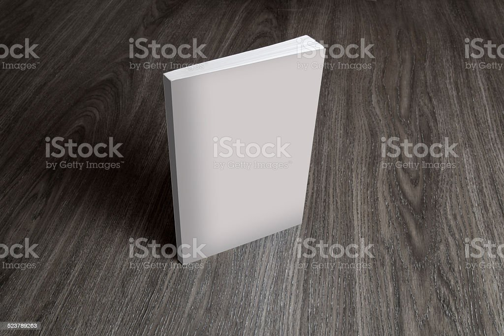 Close-up of a white blank cover book on table stock photo