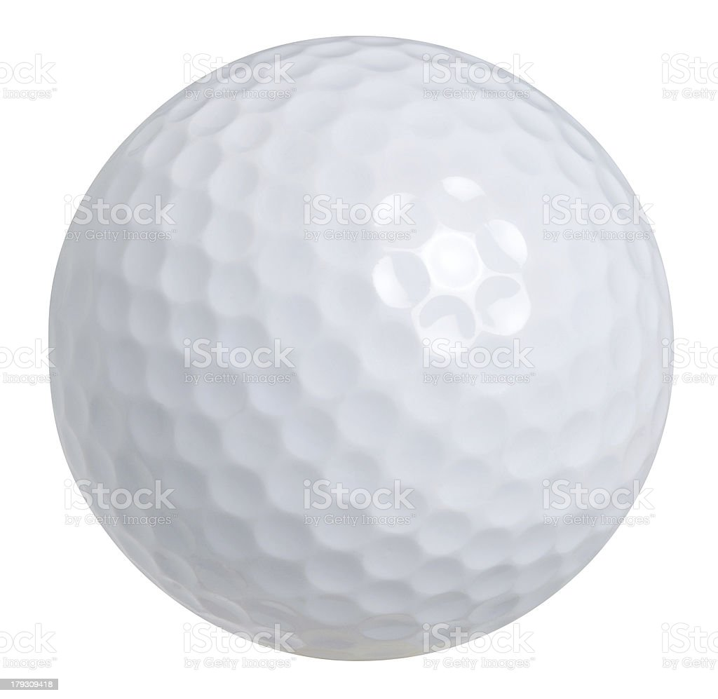 Close-up of a white golf ball on a white background stock photo