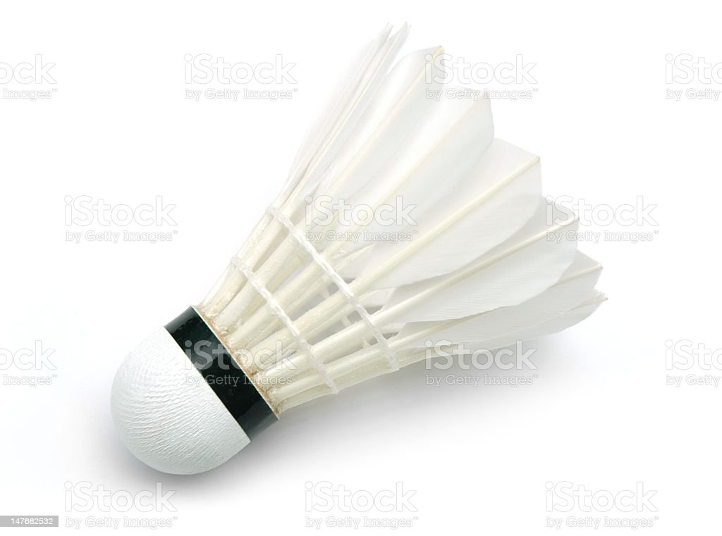 Close-up of a white shuttlecock on a white background stock photo