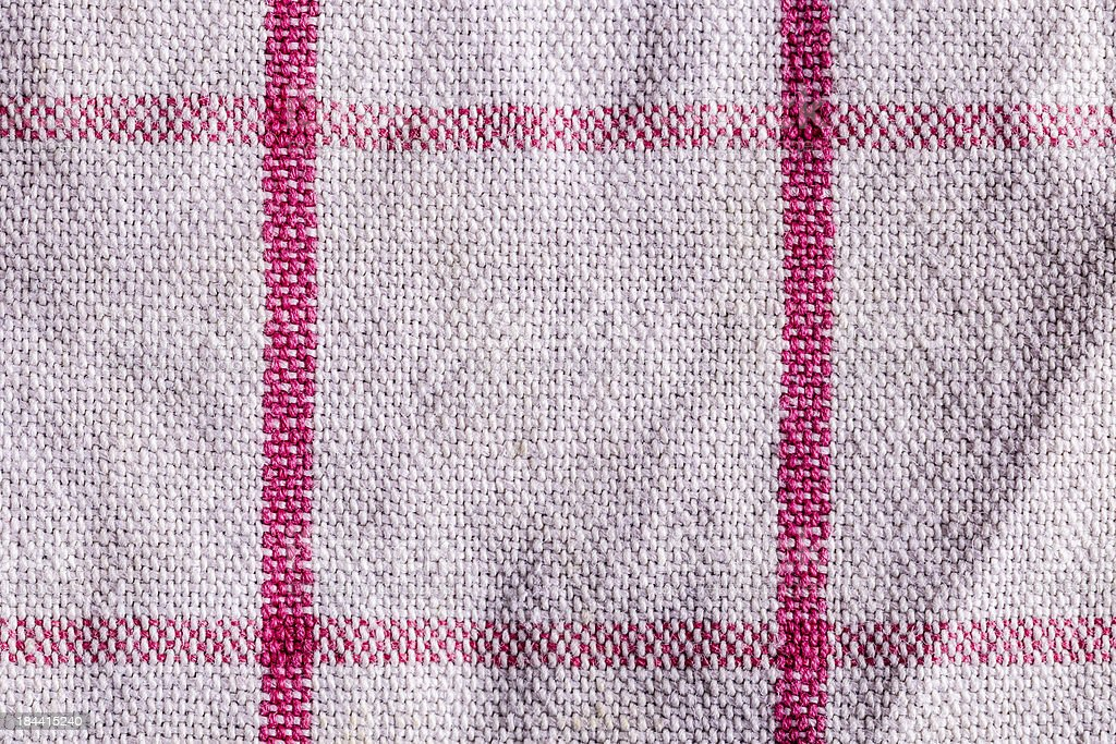 closeup of a white towel with red lines, background texture royalty-free stock photo