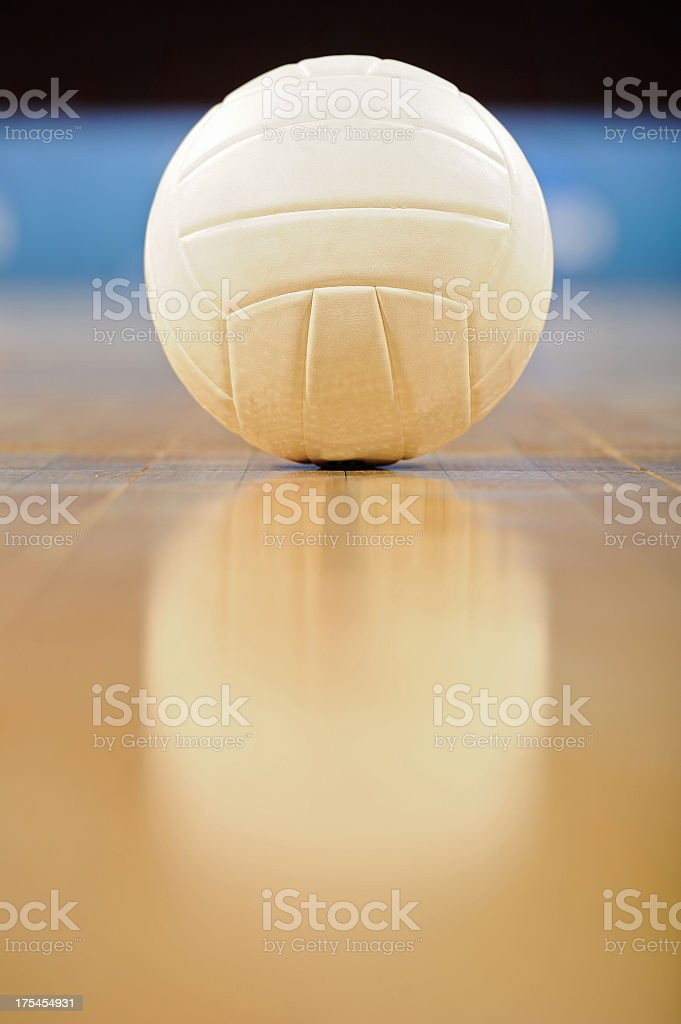 Close-up of a white volleyball on a wooden floor stock photo
