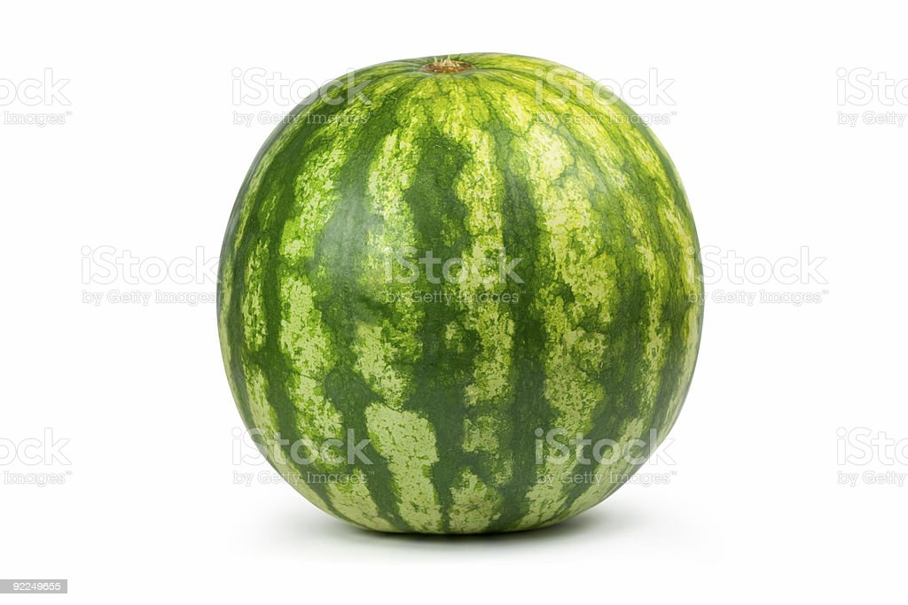 A close-up of a whole watermelon royalty-free stock photo