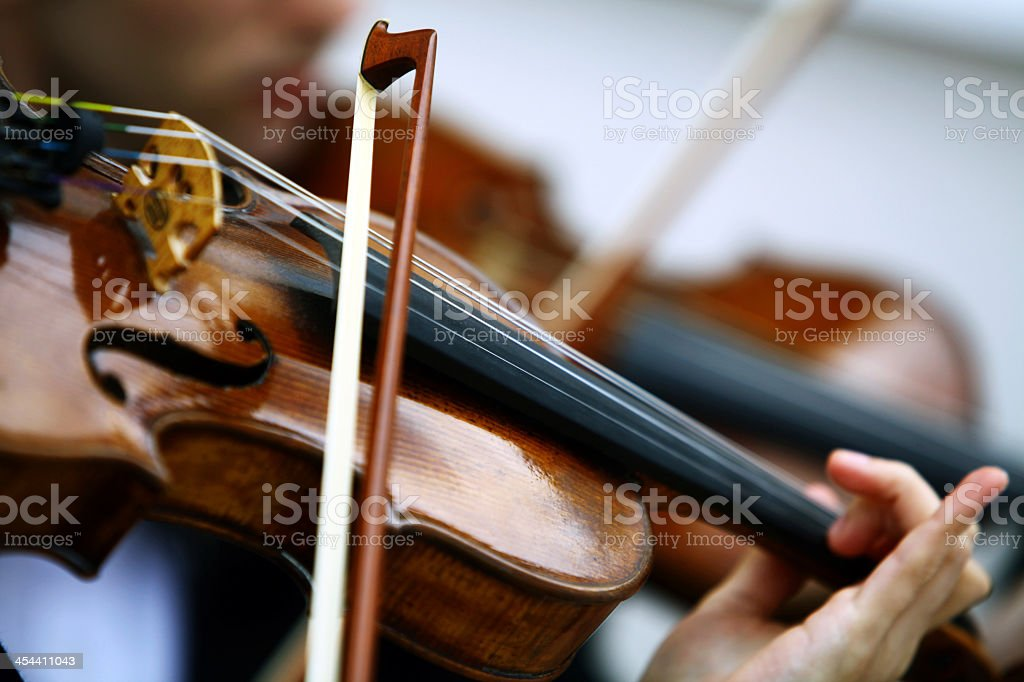 Close-up of a woman playing a viola stock photo