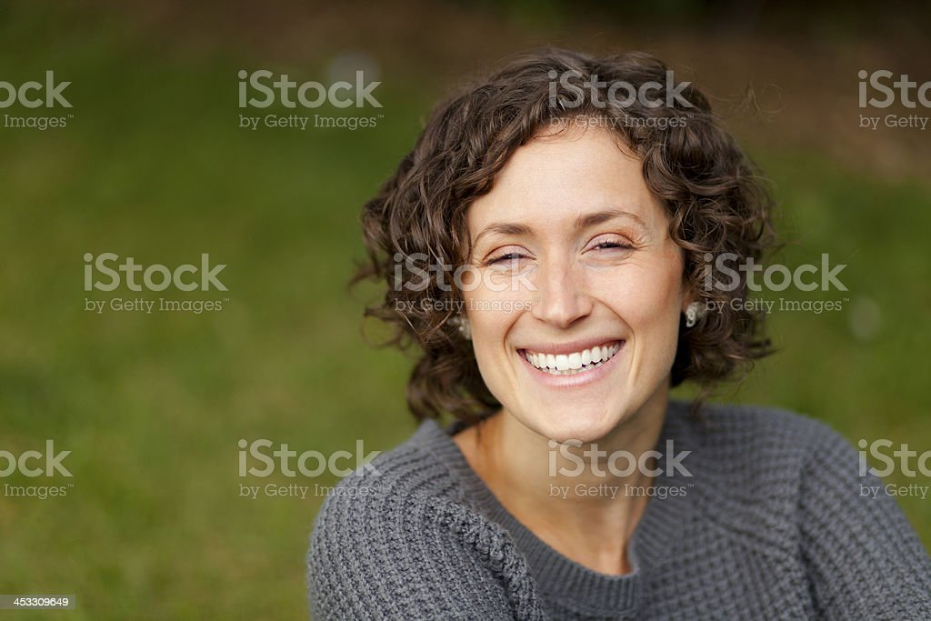Close-up of a woman smiling stock photo