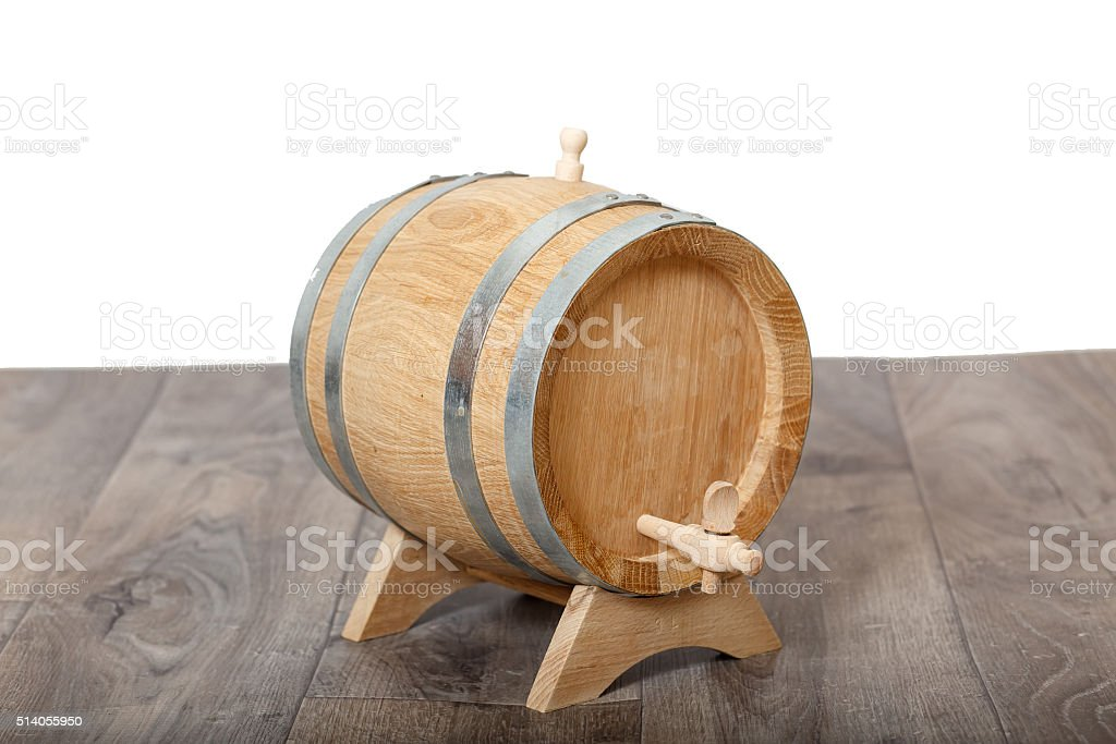Closeup of a wooden cask of wine stock photo