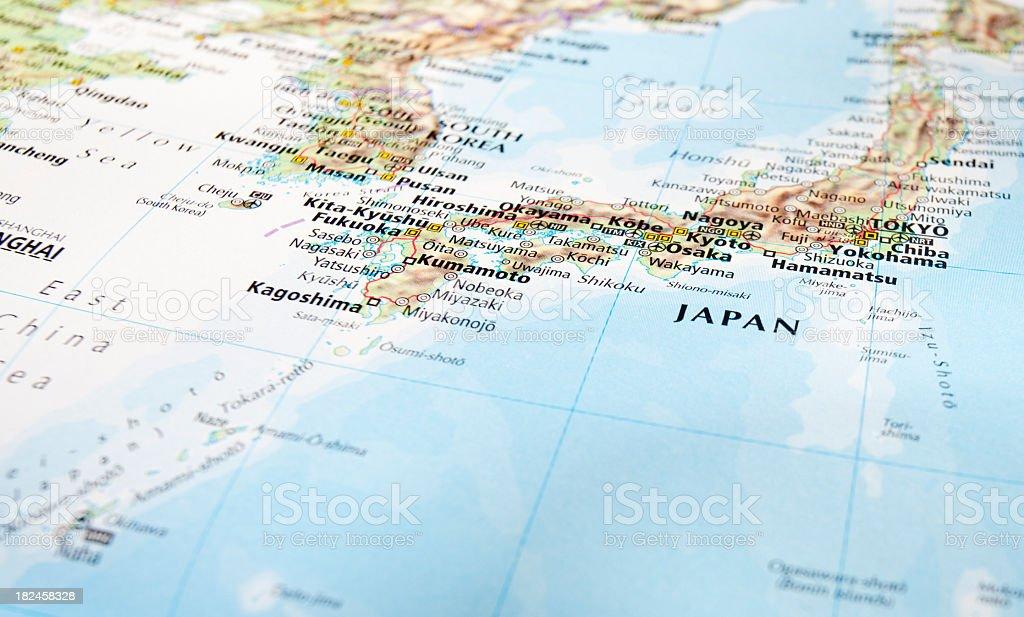 Closeup of a world map of Japan stock photo