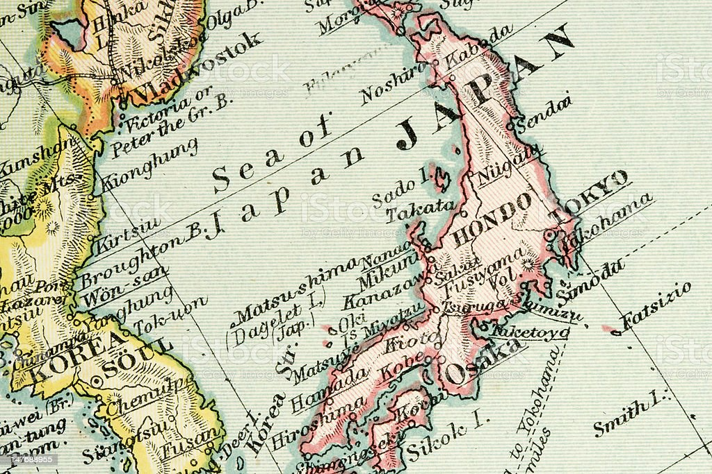 Close-up of a world map showing Japan stock photo