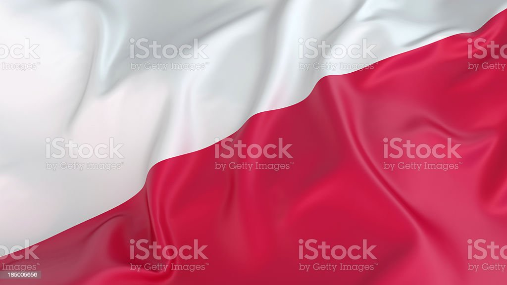 A close-up of a wrinkled Polish flag royalty-free stock photo