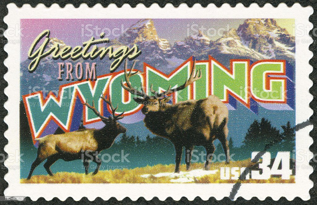 A close-up of a Wyoming postage stamp stock photo