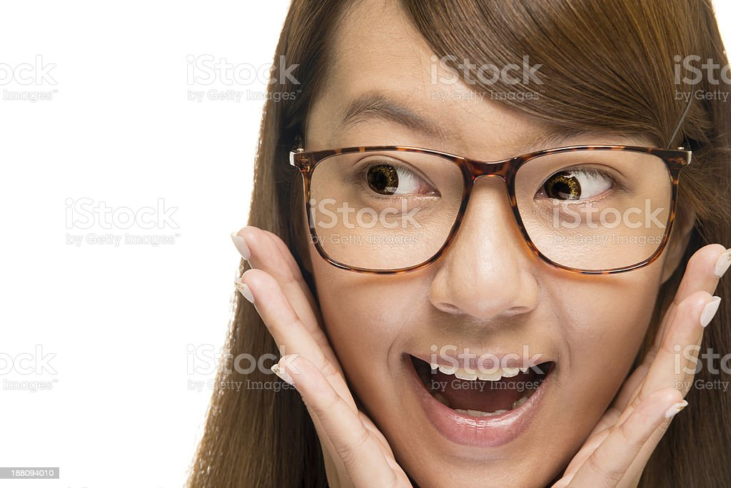 Close-up of a young Asian girl looking surprised royalty-free stock photo