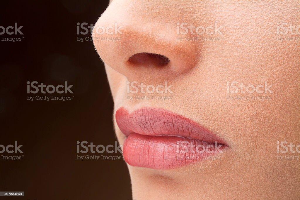 Closeup of a Young Beautiful Woman stock photo
