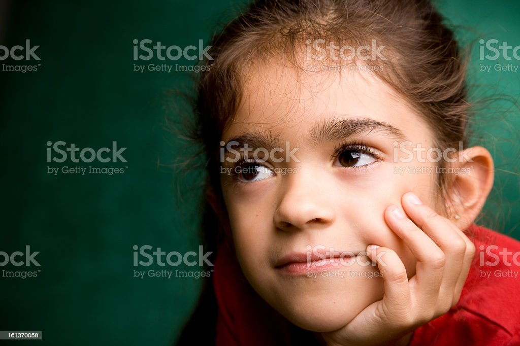 A close-up of a young brunette Hispanic girl royalty-free stock photo
