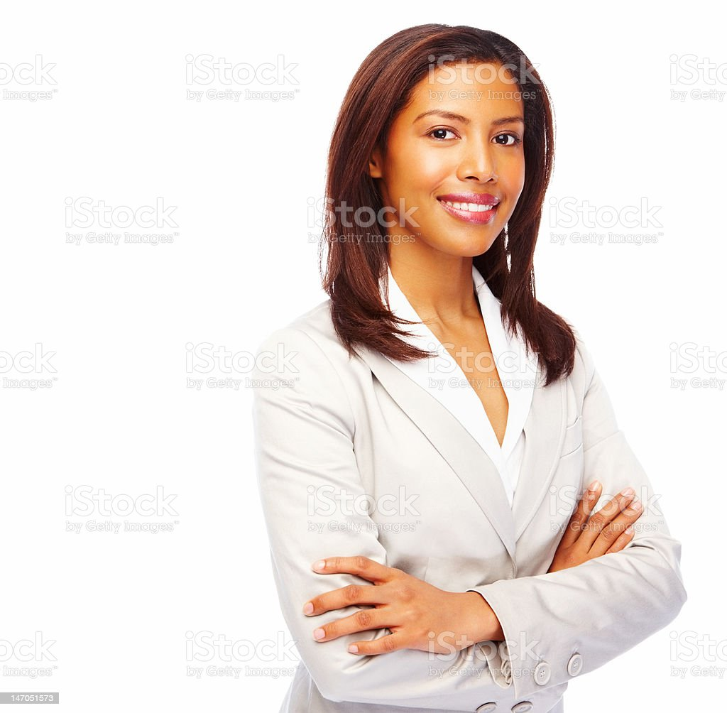 Close-up of a young businesswoman smiling on white background royalty-free stock photo