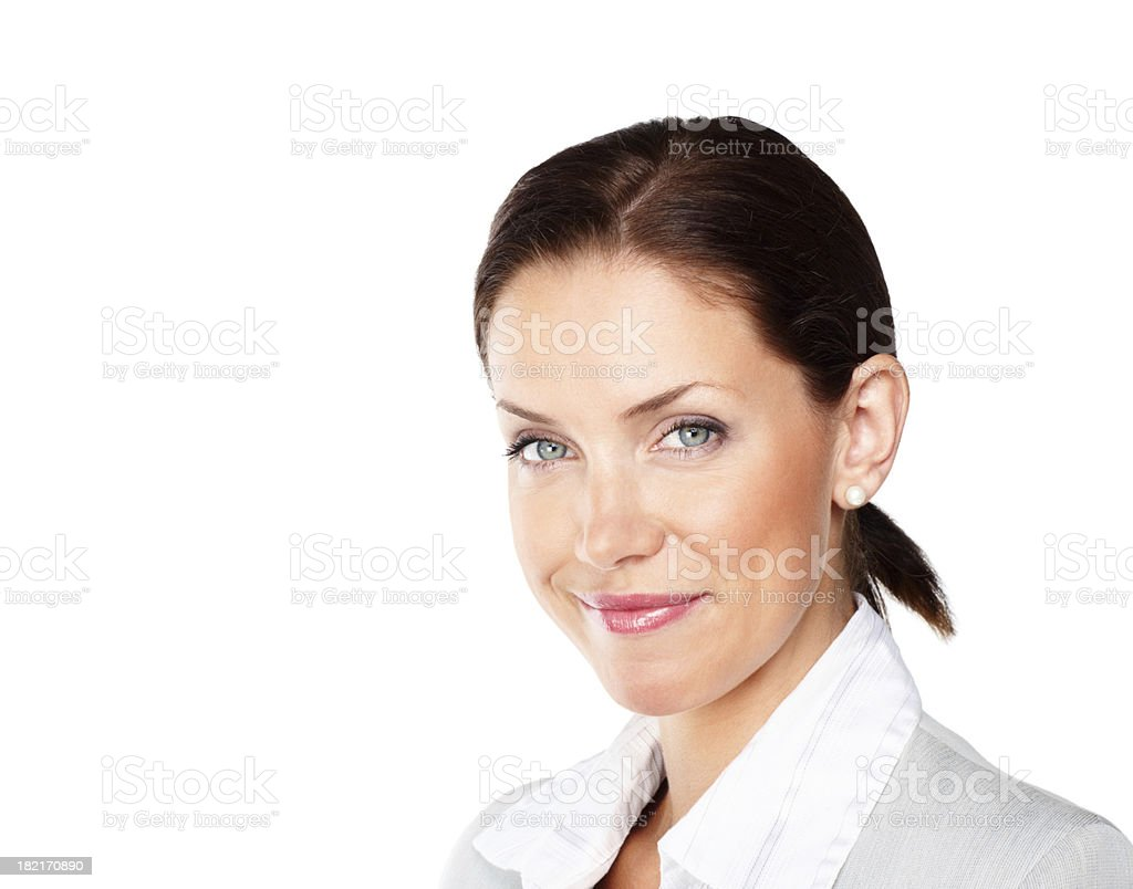 Close-up of a young businesswoman smirking royalty-free stock photo