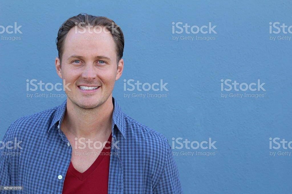 Closeup of a young Caucasian man stock photo