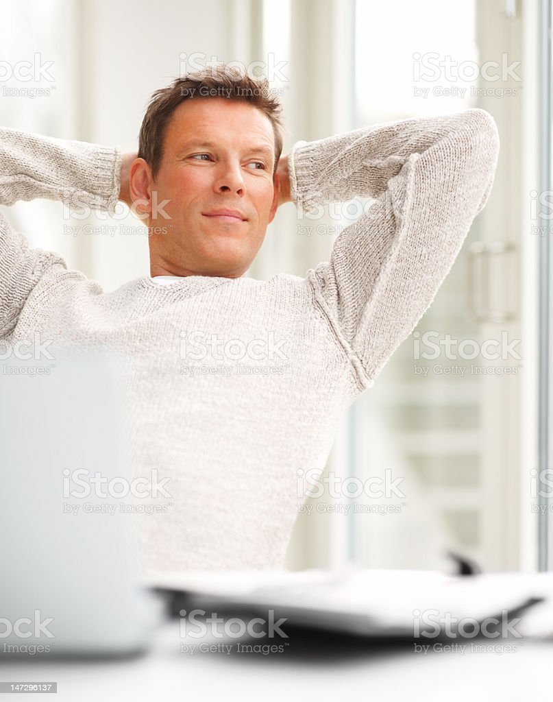 Close-up of a young man resting after work royalty-free stock photo